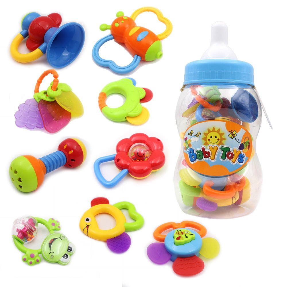 9pcs-baby-rattles-christmas-gift-set-babys-first-teether-toy-with-giant-baby-bottle